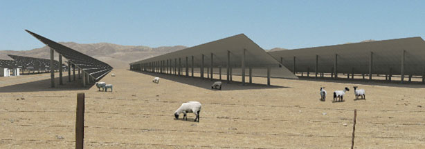 Solargen Energy, the company behind the solar project in the Panoche Valley, created this rendering to show what the solar array would look like from ground level.