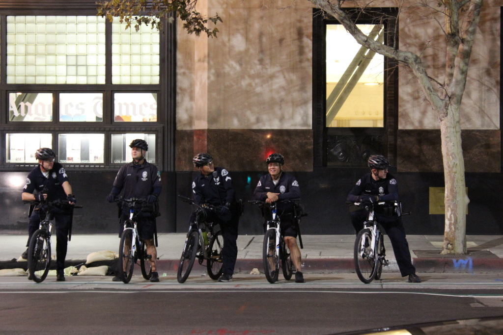 LAPD officers patrolling on Spring Street Downtown.