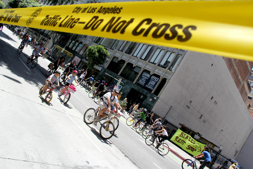 Riders in the 4th CicLAvia event on 7th and Main Streets in downtown Los Angeles, April 15, 2012.