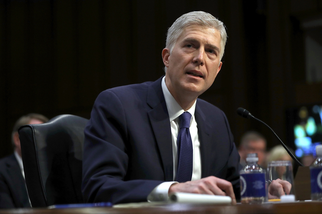 Judge Neil Gorsuch speaks during the first day of his Supreme Court confirmation hearing before the Senate Judiciary Committee in the Hart Senate Office Building on Capitol Hill.