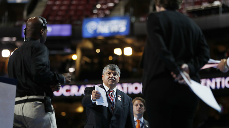 File: Richard Trumka, president of the AFL-CIO, stands on stage during a walk-through, as he prepares to appear during the 2016 Democratic National Convention in Philadelphia, Ps., on July 25, 2016.