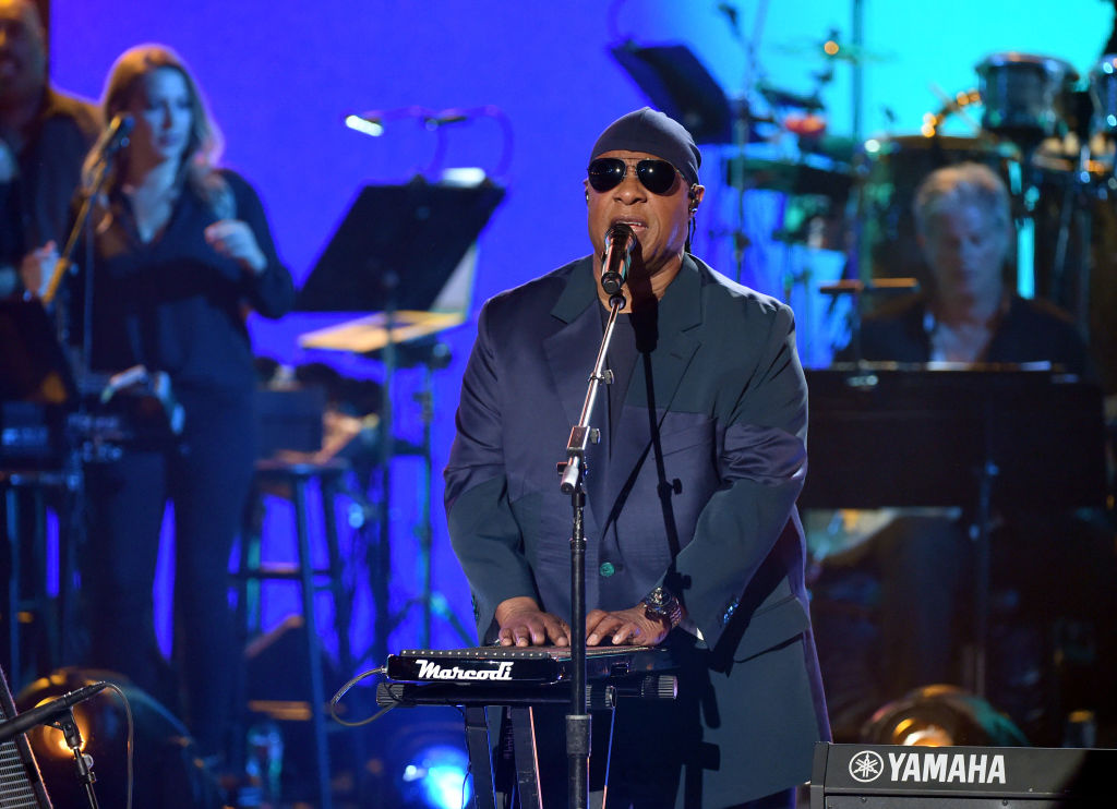 In this handout photo provided by One Voice: Somos Live!, Stevie Wonder performs onstage during
