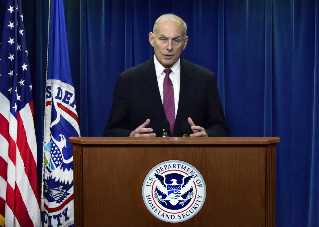 WASHINGTON – Secretary of Homeland Security John Kelly participates in a media availability alongside U.S. Customs and Border Protection Acting Commissioner Kevin McAleenan, U.S. Immigration and Customs Enforcement Acting Director Thomas Homan, and DHS Office of Intelligence and Analysis Acting Undersecretary David Glawe to discuss the operational implementation of the President Donald Trump's executive orders, in Washington, D.C., Jan. 31, 2017.  Official DHS photo by Barry Bahler.