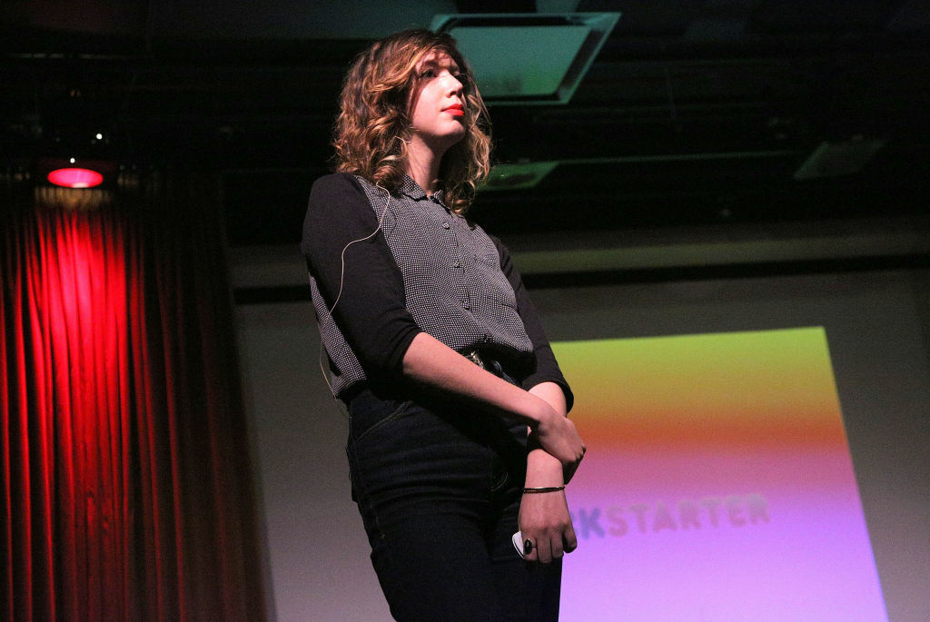 Director of the film program at Kickstarter, Elisabeth Holm speaks during the 2012 Tribeca Film Festival.