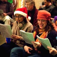 Singers take part in the Music Center's annual holiday sing-along in downtown Los Angeles.