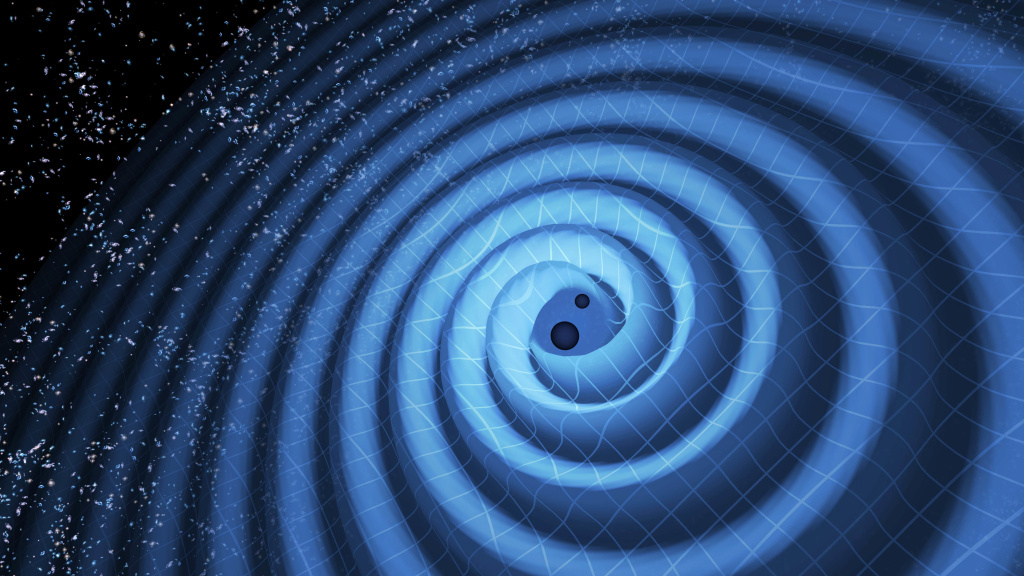 The black holes were 14 and 8 times the mass of the sun. As they spiraled together, they sent out gravitational waves.