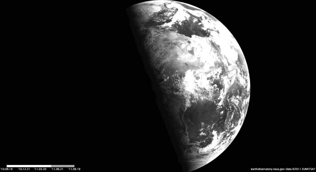 The four changes of the seasons, related to the position of sunlight on the planet, are captured in this view from Earth orbit.