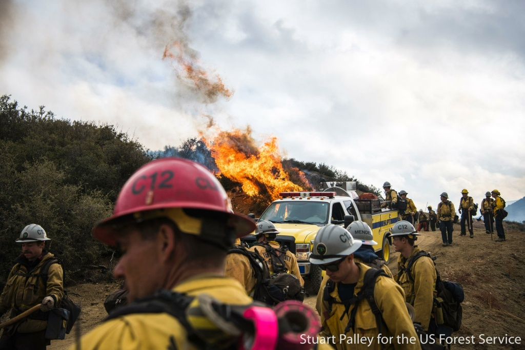 Firefighters during the Thomas Fire in December 2017.