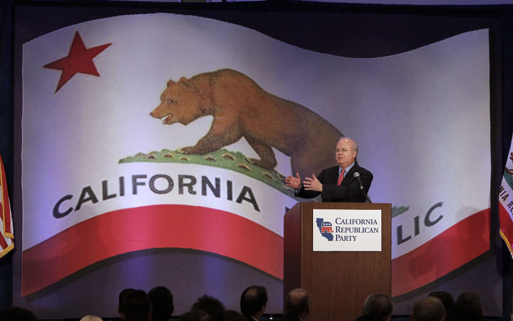 Republican strategist Karl Rove speaks at a luncheon at the California Republican Party convention,  in Sacramento, Calif., Saturday, March 2, 2013. Republican delegates are scheduled to meet in Anaheim this weekend for an annual convention with the state party at a low point.