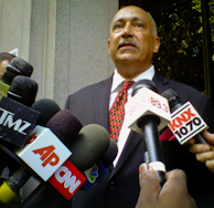 Gilbert Quinones, the attorney for suspect Louie Sanchez in the Bryan Stow beating case, speaks to reporters outside LA Superior Court on July 25, 2011.