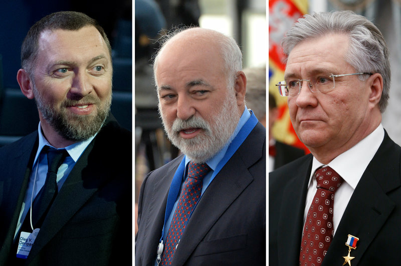 (Left) Oleg Deripaska, Chairman of Supervisory Board of Basic Element company, in 2013. (Center) Viktor Vekselberg is the founder and Chairman of the Board of Directors of the Renova Group in 2013. (Right) Vladimir Bogdanov, Director General of Surgutneftegas oil company in 2016.