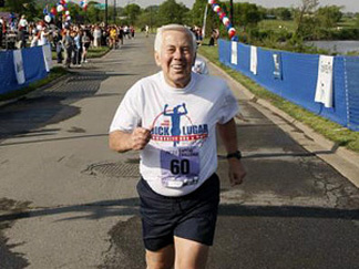 Sen. Richard Lugar has competed in the Capital Challenge 5K race every year for 29 years. Above, he crosses the finish line in 2008 at the age of 76.