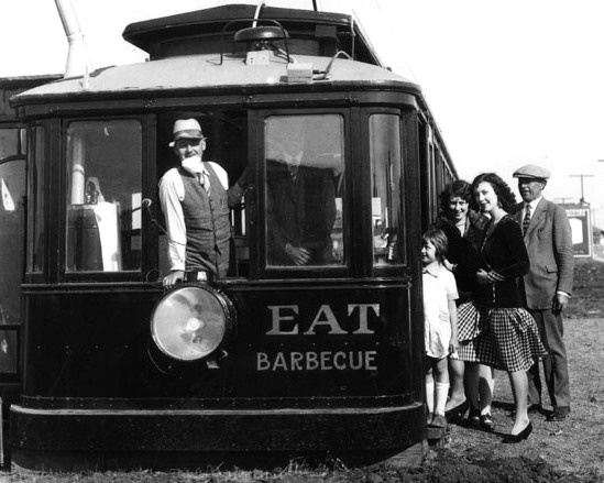 An undated photo of the Toonerville Trolley Sandwich Special, housed in an old streetcar at 1635 W. Manchester Ave.