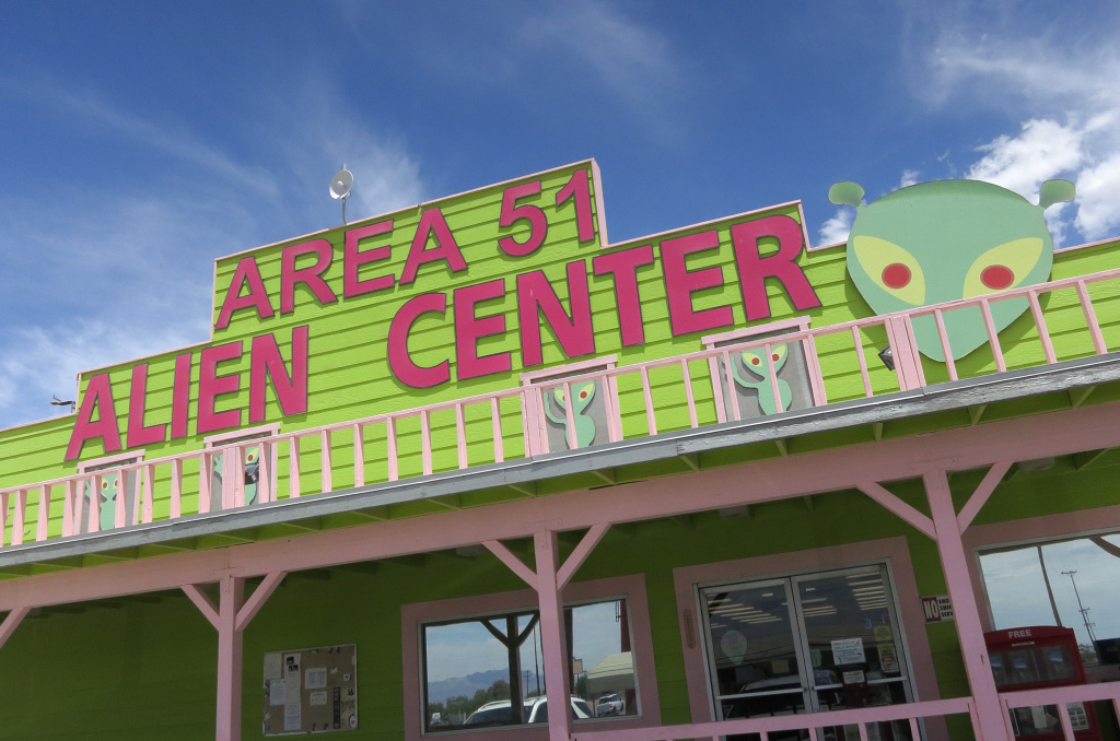 A souvenir shop that houses a brothel in an annex beckons visitors near a junction that leads to Area 51 on July 19, 2014 at Amergosa Valley, Nevada. Area 51 is another name for a portion of Edwards Air Force Base that UFO enthusiasts have theorized contains evidence of visitors from outer space.
