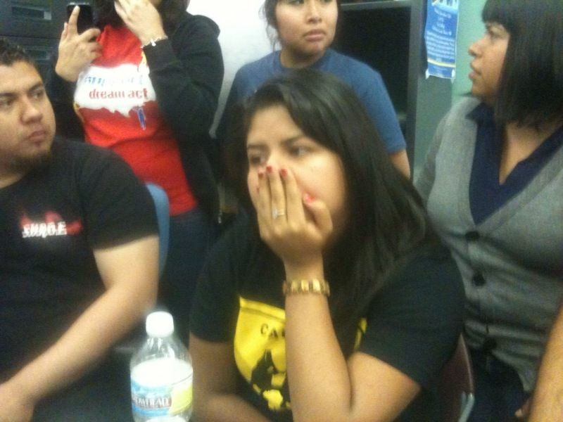 Janeth Herrera Bucio, center, and other students in Westlake react to news of the Senate vote, September 21, 2010
