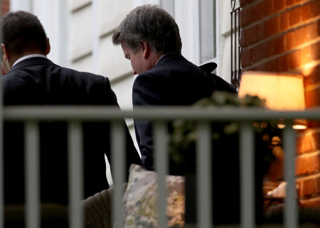 Supreme Court nominee Judge Brett Kavanaugh (R) leaves his home September 18, 2018 in Chevy Chase, Maryland.