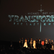 """Cast and Crew speak onstate at the US premiere of """"Transformers: The Last Knight"""" at the Civic Opera House on June 20, 2017 in Chicago, Illinois."""