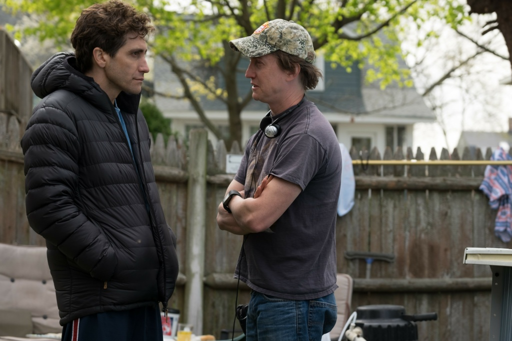 Actor Jake Gyllenhaal and director David Gordon Green on the set of