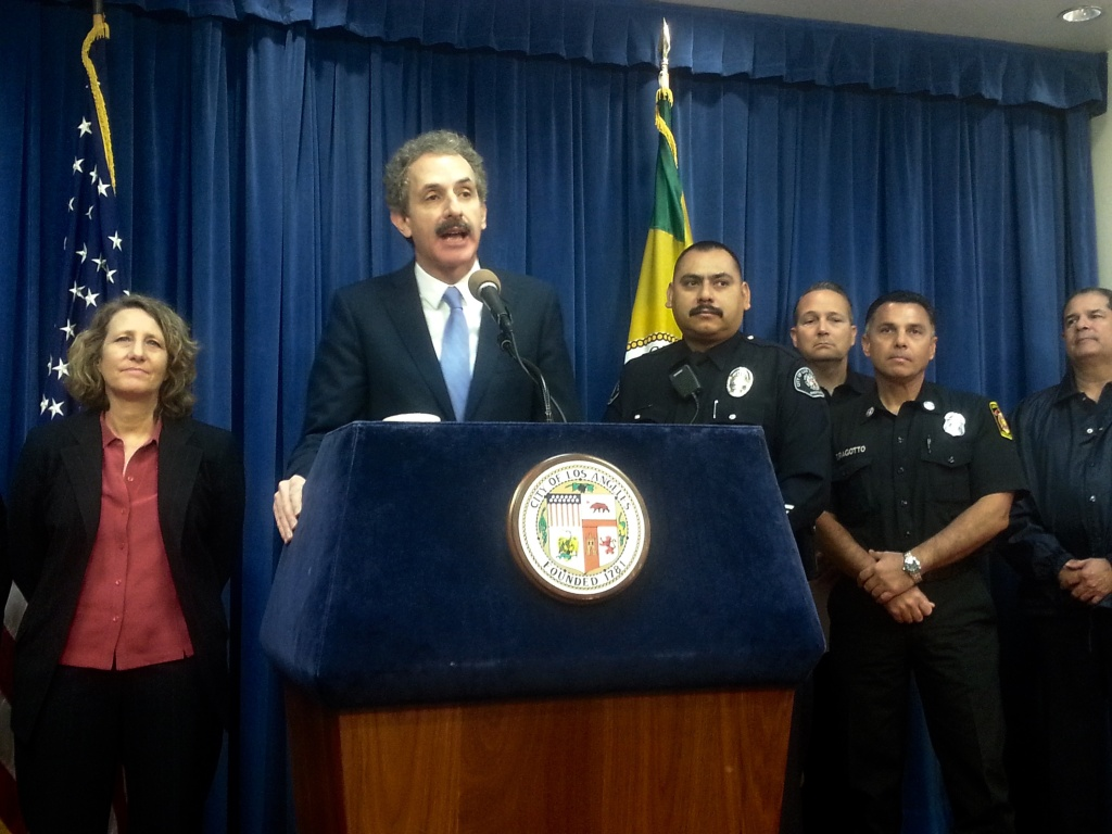 Los Angeles City Attorney Mike Feuer announcing his office filed criminal charges against five business owners in Boyle Heights for illegally disposing of highly toxic chemicals and/or not properly storing them.