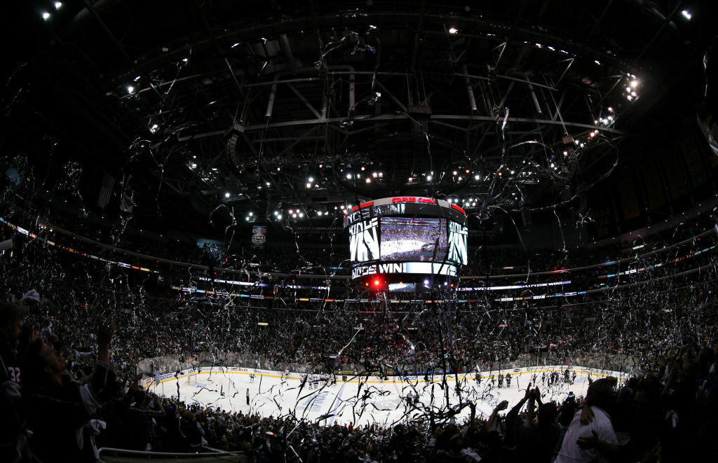 Confetti fall from the rafters after Game Three of the 2012 Stanley Cup Final between the New Jersey Devils and the Los Angeles Kings at Staples Center on June 4, 2012 in Los Angeles.