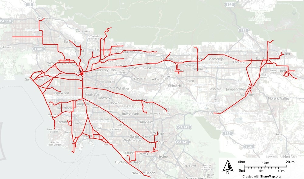 This map shows the former layout of the Pacific Electric railway system, known as the Red Cars.