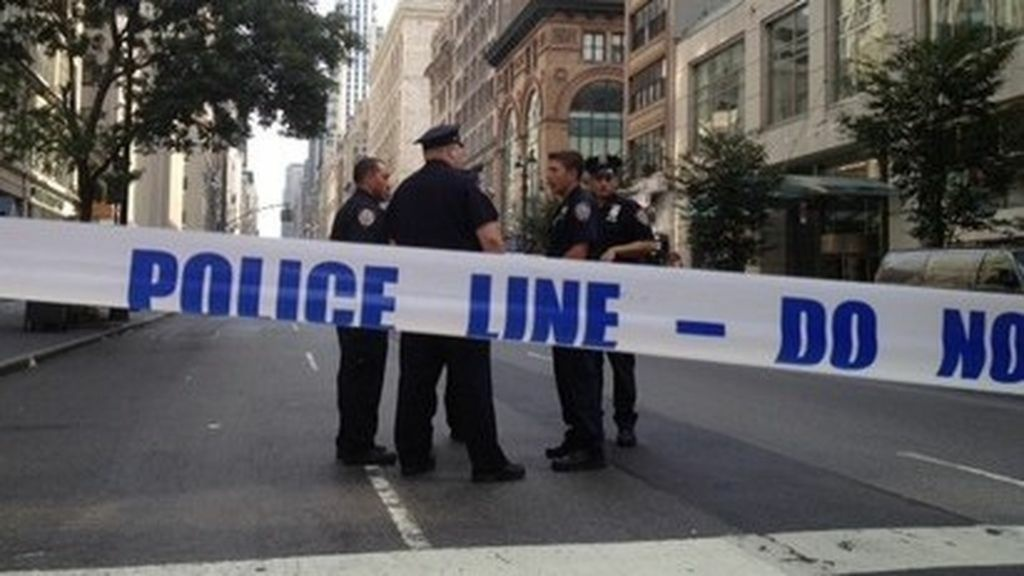One of the blocked off streets near the scene of Friday, Aug. 24's shooting outside the Empire State Building.