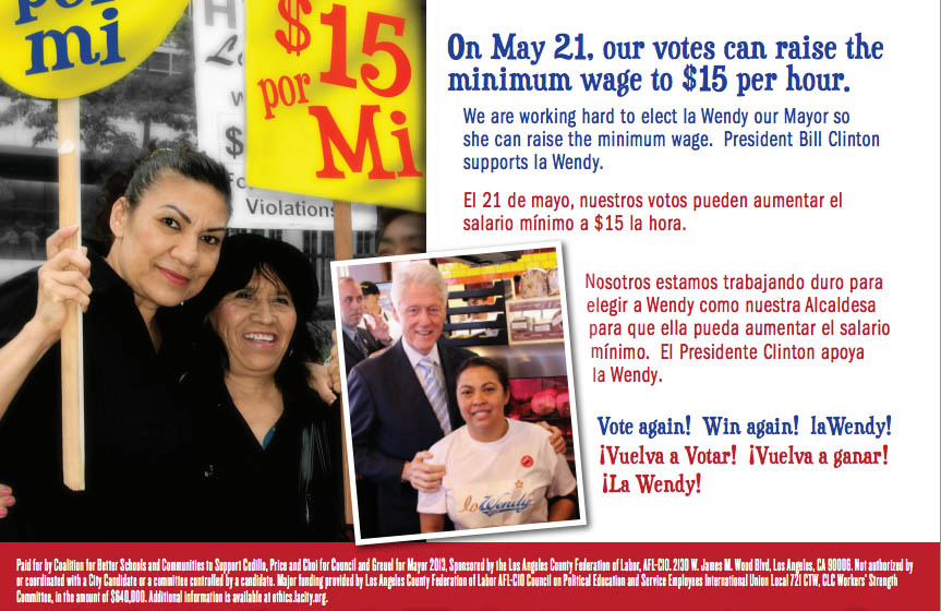 A political action committee supported by the County Federation of Labor sent out this mailer, telling voters Wendy Greuel would increase the minimum wage to $15 per hour if elected mayor. What the candidate actually supports is increasing hourly wages for hotel workers throughout the city.