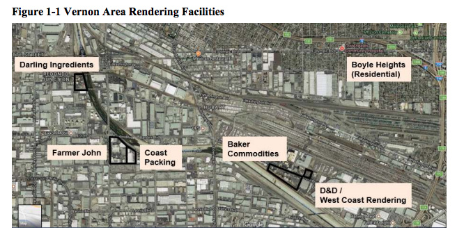 Map showing the five facilities and their proximity to Boyle Heights.