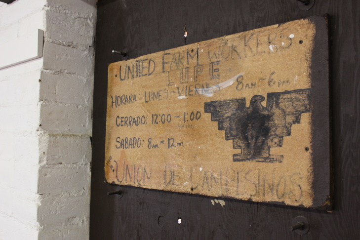 A wooden UFW sign hangs near the small room in Delano where Cesar Chavez fasted in 1968 during the grape strike.