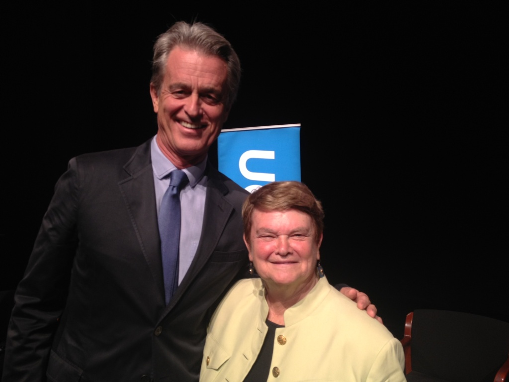 Bobby Shriver and Sheila Kuehl after their debate at UCLA's Freud Playhouse.