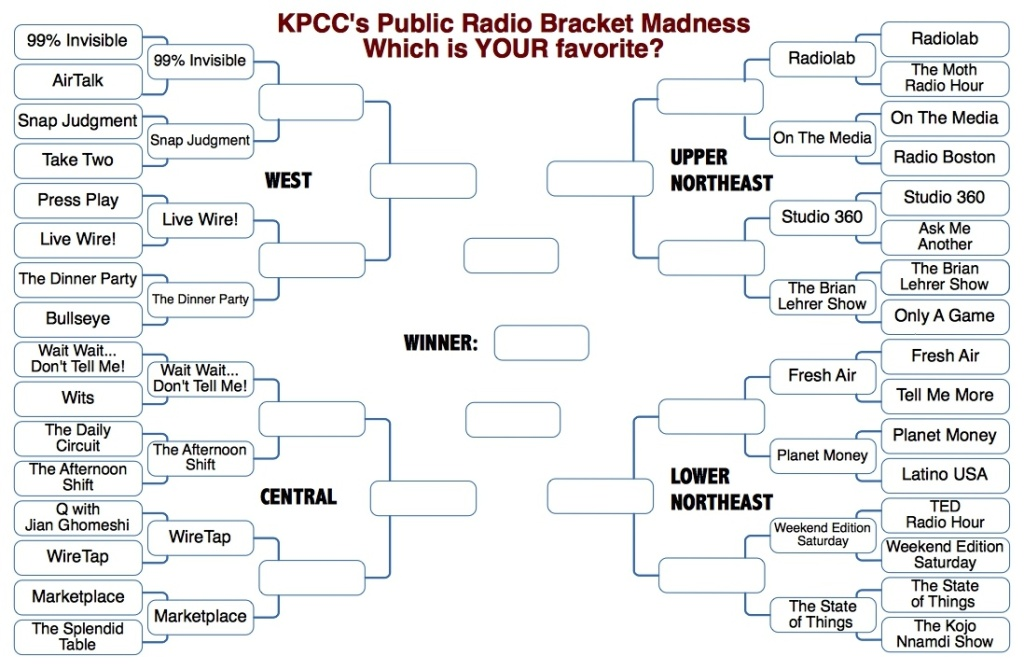 KPCC Bracket Madness Round 2: Which show is going to take the big prize?