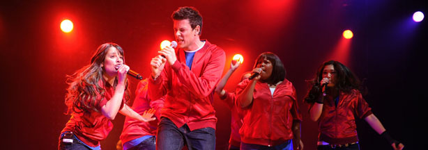 Lea Michele, Cory Monteith, Amber Riley and Jenna Ushkowitz from the cast of Glee perform at Radio City Music Hall on May 28, 2010 in New York City.