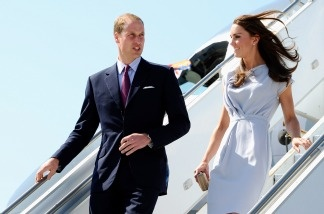 The Duke and Duchess of Cambridge, William and Kate, exited an Airbus 310 Canadian military jet at LAX.