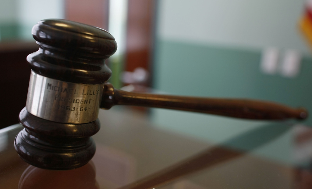 A judges gavel rests on top of a desk in a courtroom. A judge from Orange County and another from Kern County have been censured by a California watchdog agency for sexual misconduct and other misbehavior.