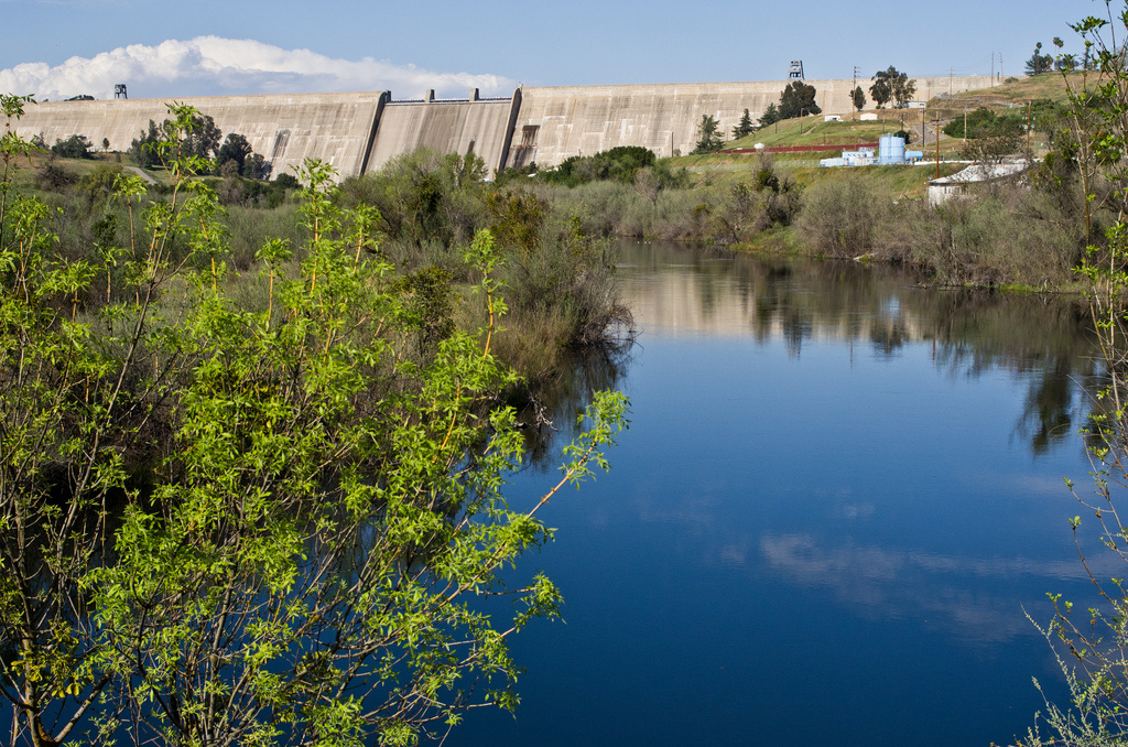 A view below Friant Dam from March 2013. Restoration of the San Joaquin River below the dam, begun under a legal settlement a few years ago, nevertheless remains controversial, especially in this dry year.