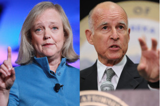 California gubernatorial candidates Meg Whitman and Jerry Brown