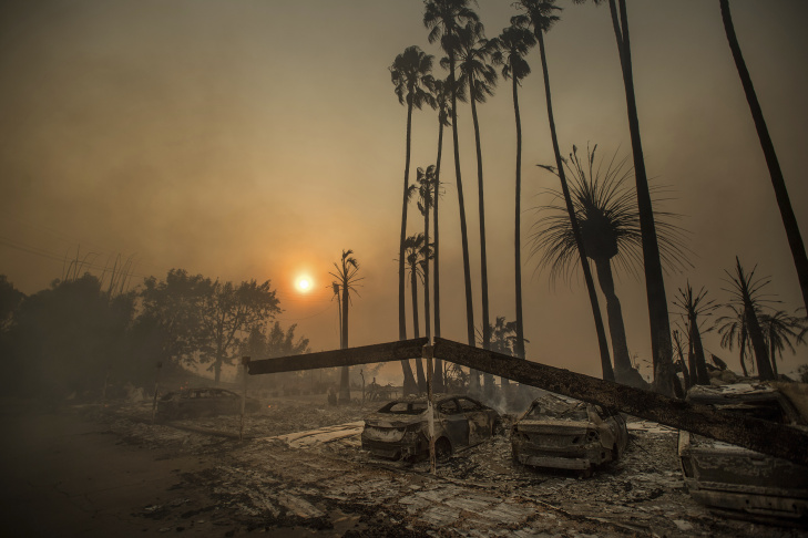 OJAI, CA - DECEMBER 07:  A home is consumed by fire during the Thomas fire on December 7, 2017 in Ojai, California. The Thomas fire has burned over 115,000 acres and has destroyed 439 structures.  (Photo by Justin Sullivan/Getty Images)