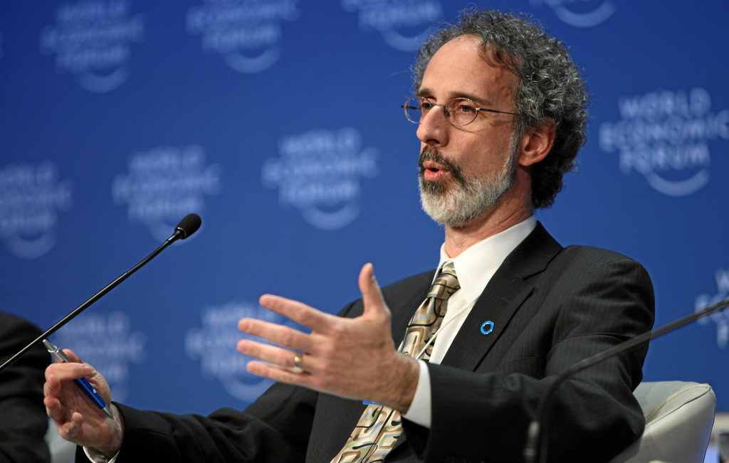 Oakland-based Pacific Institute water and climate analyst Peter Gleick speaks during the session 'The Politics of Water' at Davos, Switzerland, in 2009.