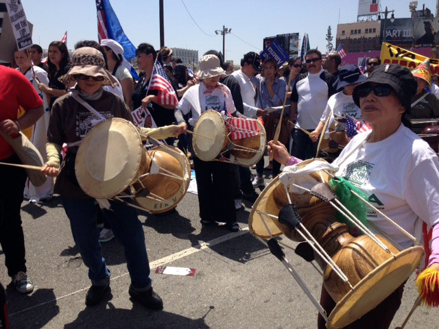 Korean-American Drummers at a Los Angeles May Day immigration rally, May 1, 2013. Compared with the immigration debate of the mid-2000s, Asian-American groups have become a bigger force in immigration reform efforts.