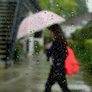 File: A pedestrian uses her umbrella in the rain in Alhambra on April 8, 2016 as rain began falling.