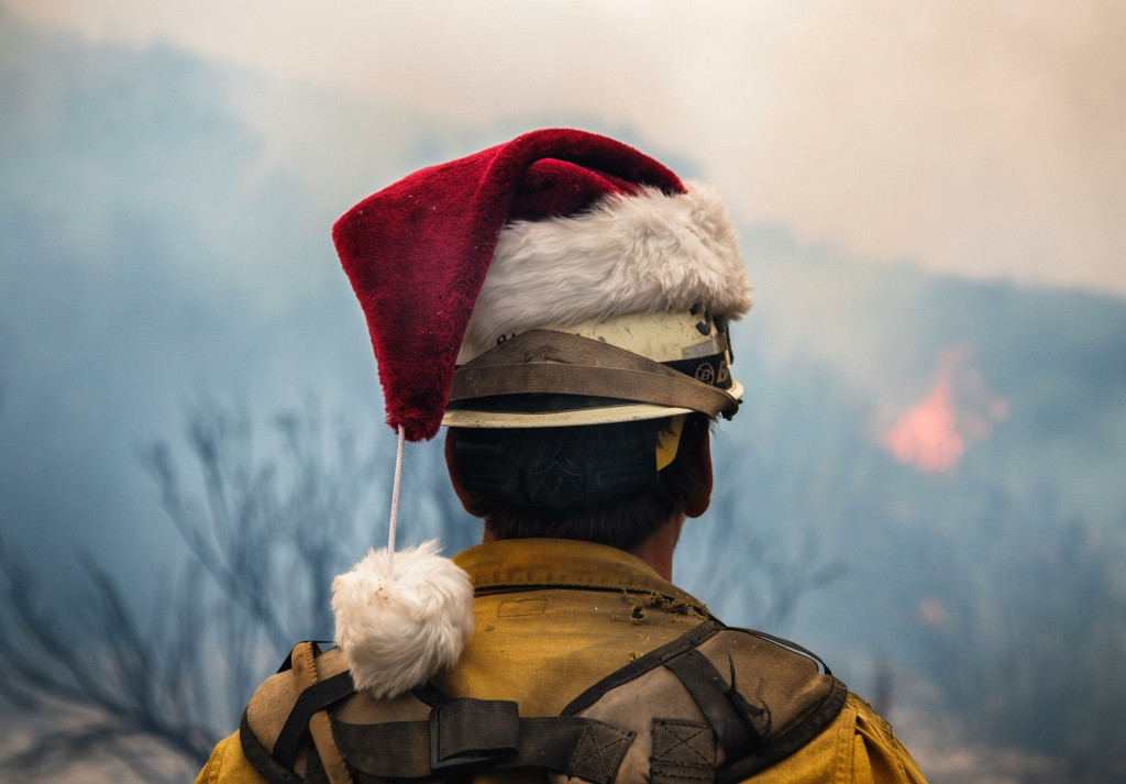 A firefighter during the Thomas Fire in December 2017.