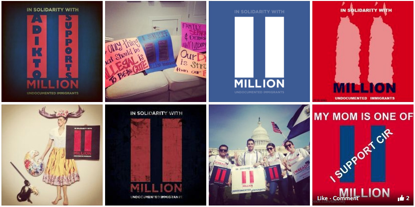 A Latino civic engagement group is encouraging social media users to change their profile photos to the '11 million' graphic in support of immigration reform, as same-sex marriage supporters did with the marriage-equality sign that inspired it.