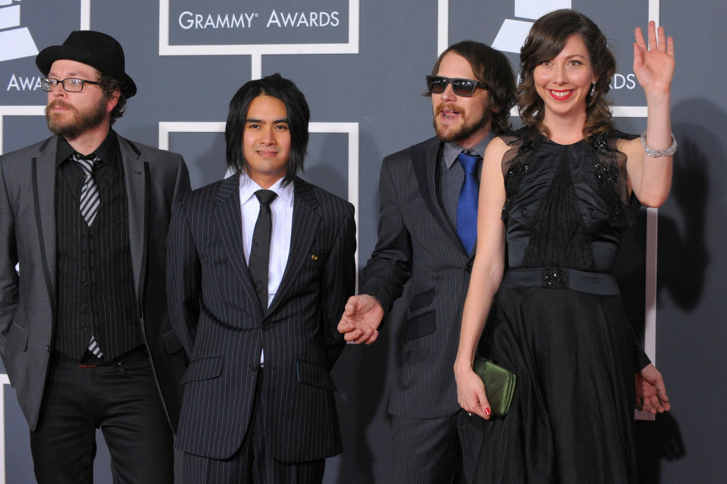 Musical group Silversun Pickups arrives at the 52nd Annual GRAMMY Awards held at Staples Center in Los Angeles, California.