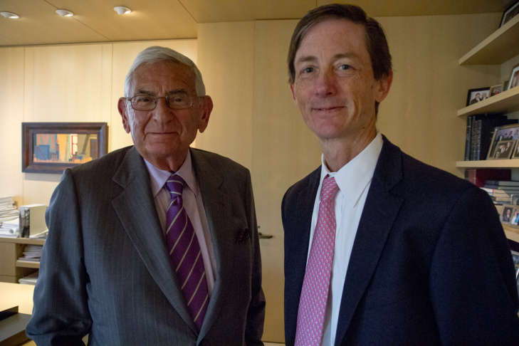 Eli Broad, left, has appointed Bruce Reed, former CEO of the influential Democratic Leadership Council, to lead his foundation.
