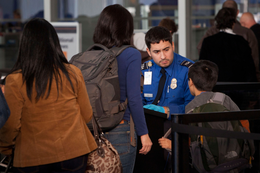 A Transportation Security Administration (TSA) official scans travelers at Terminal Five of John F. Kennedy Airport on Dec. 23, 2011 in New York City.