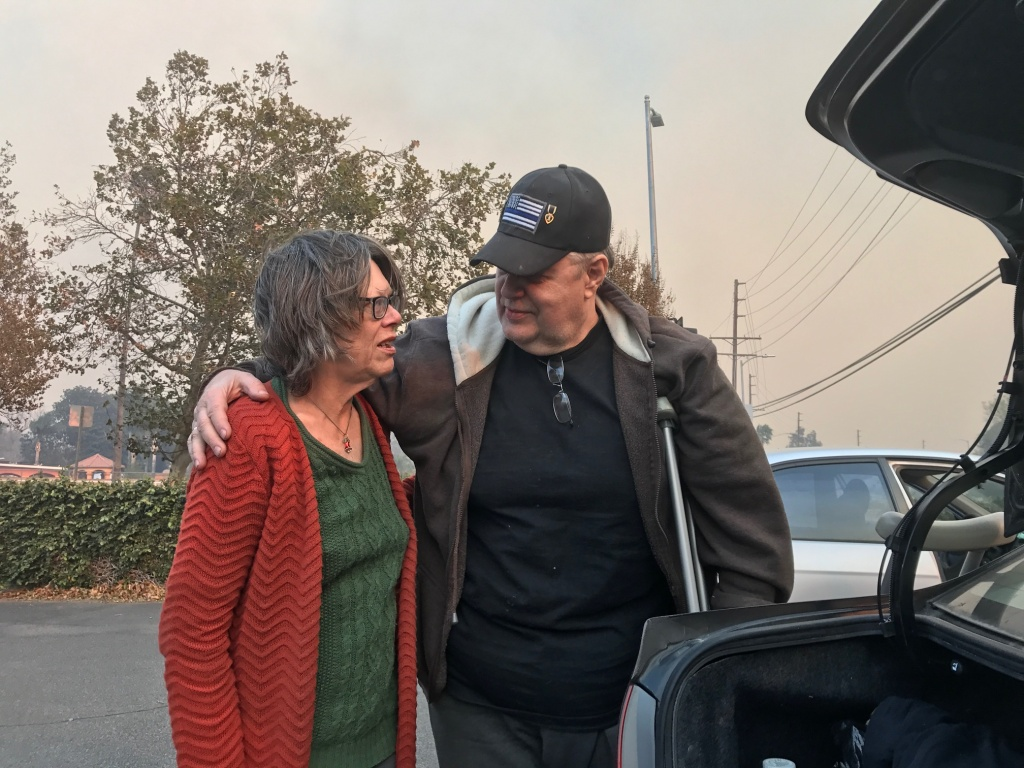 Vicki and Don Ecker were forced to flee their Kagel Canyon home Tuesday morning to escape the Creek Fire.