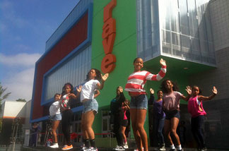 Members of the Debbie Allen Dance Academy perform at grand opening of the Rave Cinemas at Baldwin Hills Crenshaw Plaza.