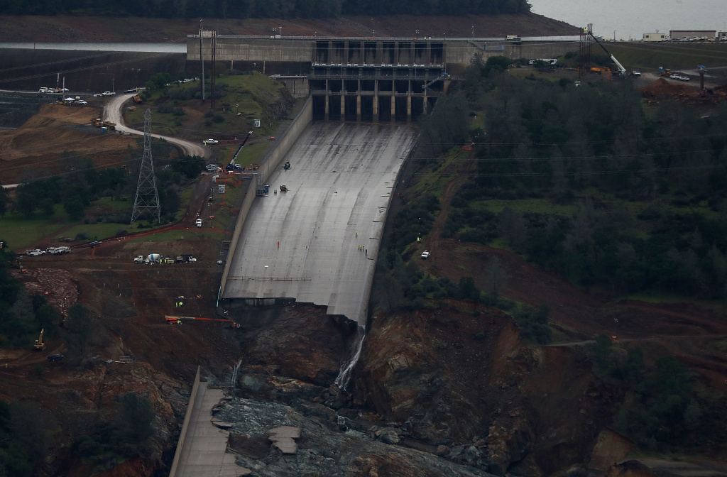 A view of of the heavily damaged spillway at Lake Oroville on April 11, 2017 in Oroville, California.