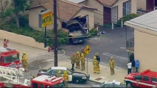 A driver lost control of his pickup truck and rammed it through the wall at the Roxford Motel in Sylmar.