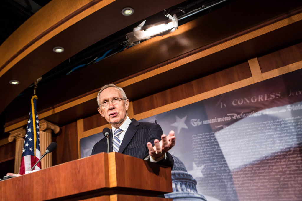 Senate Majority Leader Harry Reid (D-NV) speaks at a news conference discussing the election results on Capitol Hill on November 7, 2012 in Washington, DC.